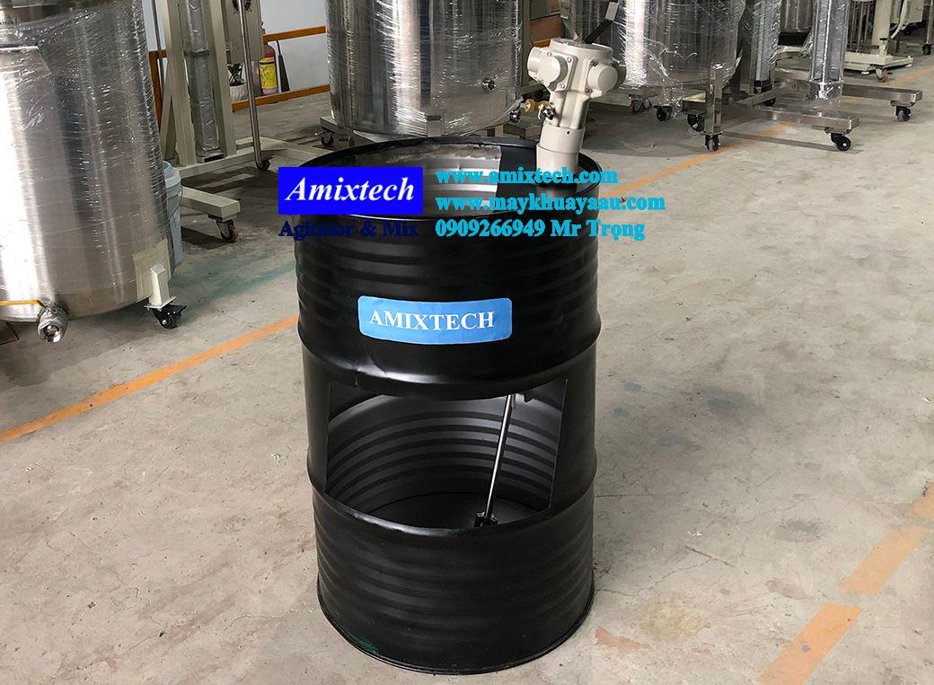 máy khuấy khí nén gắn lổ miệng thùng phuy