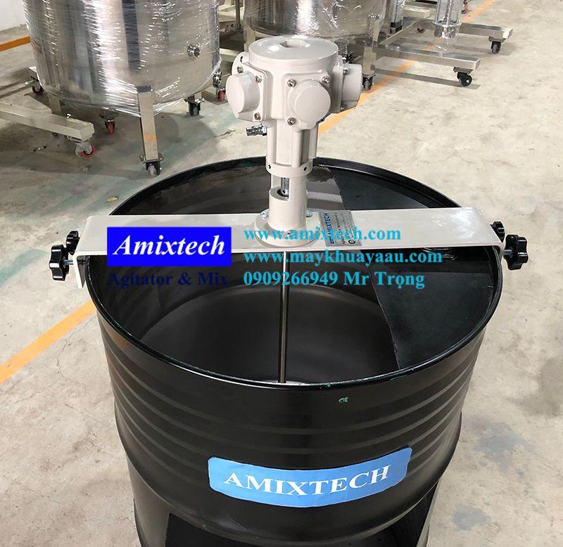 máy khuấy khí nén gá ngang thùng phuy