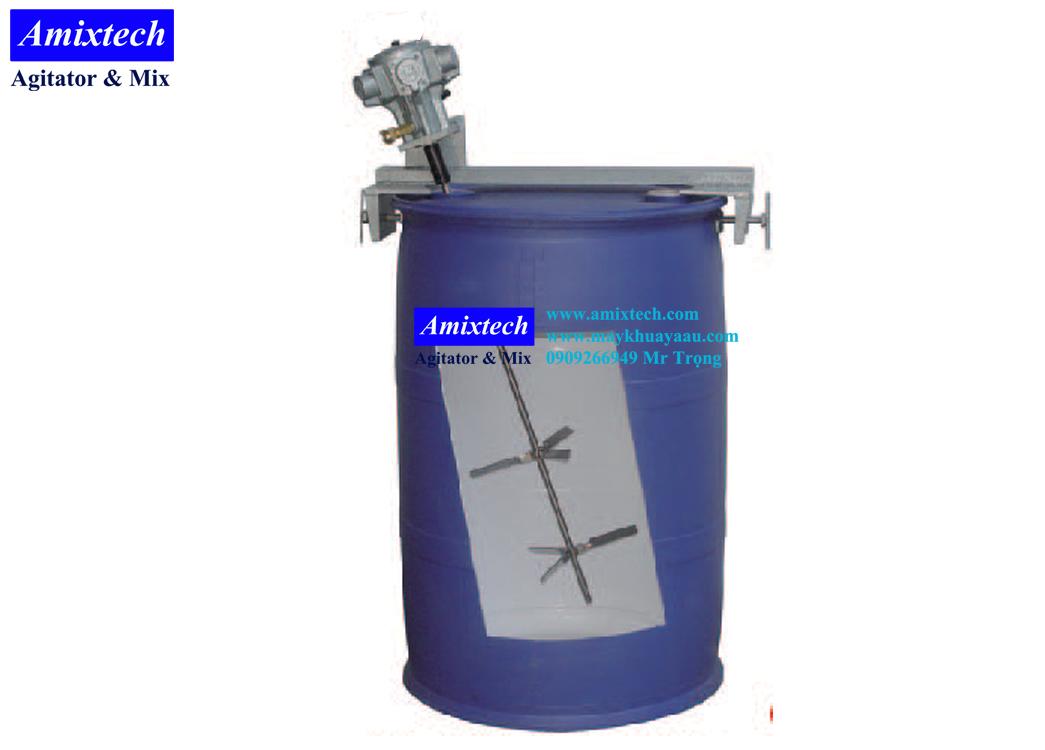 máy khuấy khí nén gắn lỗ thùng phuy nhựa